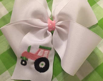 Embroidered Pink Tractor Hair Bow Boutique Farm
