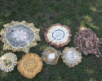 Vintage Crochet Lace Prairie Cottage Crochet Doilies Sewing Supplies White Crochet Doilies Yellow Fall Decor Handmade Table Runner Set of 7