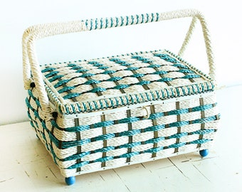 Vintage sewing basket - BLUE and white - Alco Japan - sewing container - sewing caddy