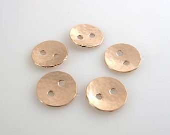 Rose Gold Filled Buttons, 1/2 Inch, 13mm, Textured, Hammered, Polished QTY 5