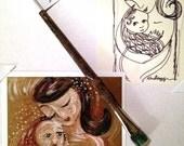 Fresh ~ Collector's Set of Original Pen Line Drawing, Retired Studio Brush & Mini Archival Print