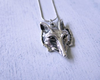 Wolf Head Necklace, Silver Wolf Head, Boho Long Layering Pendant, Long Necklace,