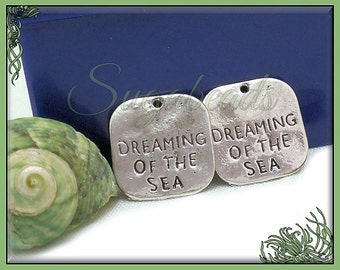 10 Dreaming of the Sea Charms, Antiqued Silver Beach Charms, Square Dreaming of the Sea Charms 20mm, PS1