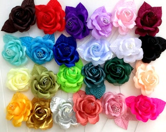 "5 PCS of 3"" Fancy bloom Rose with leaves - Choose colors"