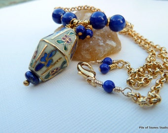 Lantern Festival* Lapis & Cloisonne Necklace Yellow Blue Green Red Gold Vintage Chinese Cloisonne Focal Jewelry Gold Metal Findings Necklace