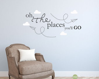 Oh The Places You'll Go Paper Airplanes Clouds • Bedroom Decor • Home Decor • Vinyl Wall Art Words Decals Graphics Stickers Decals 1845