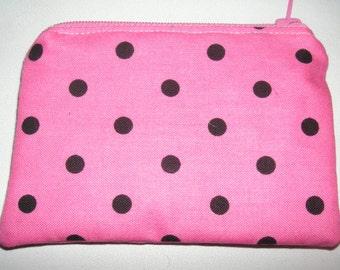 Polka Dots dot circles novelty handmade zipper fabric coin change purse card holder