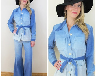 70s Wrangler RARE Ombre Denim Suit, Matching Jean Jacket and Bell Bottom Jeans, Size XS to Small