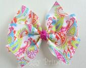 Paisley Hair Bow - Pinwheel Style - No Slip Velvet Grip Hair Clip