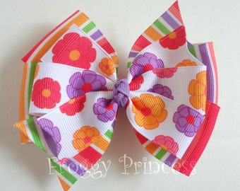 Pretty Posies Bow - M2MG Double Pinwheel - No Slip Velvet Grip Hair Clip
