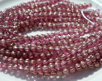 Cherub Pink 5mm Melon Czech Glass Beads 25