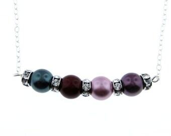 Swarovski Crystal Birthstone Color Pearl Necklace - Four Birthstones (SCB004).