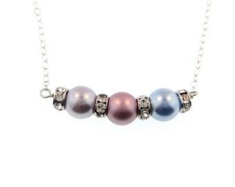 Swarovski Crystal Birthstone Color Pearl Necklace - Three Birthstones (SCB003).