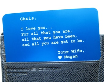 Personalized Wallet Insert - Wallet Card - Gift for Him & Her - Meaningful Anniversary Love Note, Wedding Vow - Free Gift Box (GM011)