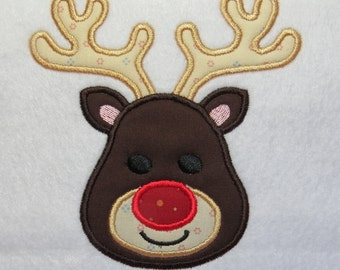 Reindeer - Rudolph Red Nosed - Machine Applique Embroidery Designs - 2 sizes