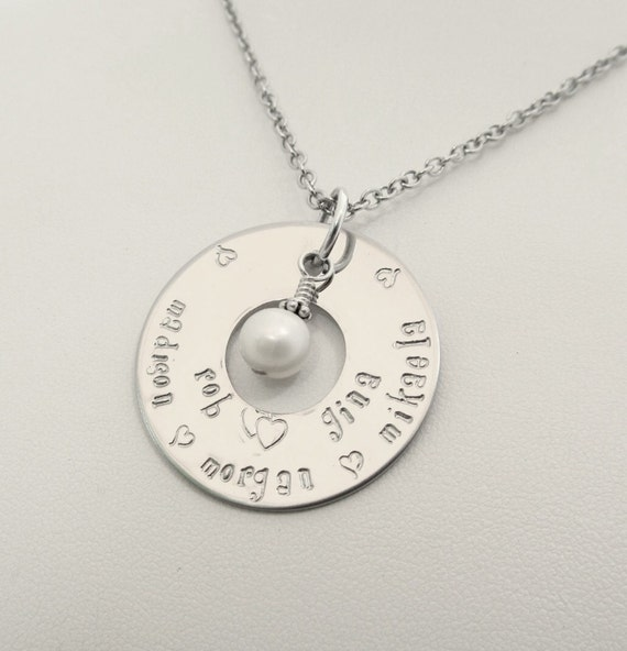 Hand Stamped Jewelry - Personalized Large Eternity Necklace - 2 lines of names