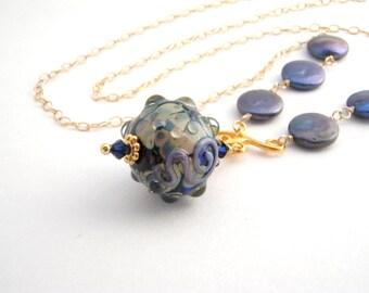 Gold Chain Necklace With Lampwork Pendant, 27 Inch, Navy Pearls, Beige, Long Necklace