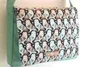 Mint Retro OWL Print MESSENGER Book Laptop Diaper Bag