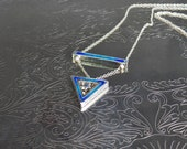 Sterling silver and vitreous enamel two part pendant and chain, royal blue and turquoise, statement
