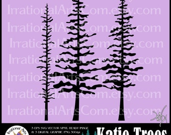 Katie Trees Silhouettes Vector Vinyl Ready images for Vinyl Wall Decals EPS, SVG & PNG files, small commercial license {Instant Download}
