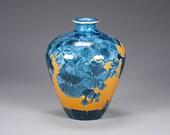 Porcelain Vase - Blue, Golden - Crystaline Glaze - Hand Made Ceramics - FREE SHIPPING - #B-1-3427