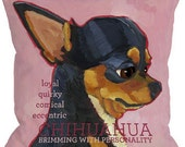 Chihuahua dog pillow - chihuahua home decor Canvas tote, pillow, custom option with dog's name