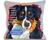 Australian Shepherd dog pillow, aussie home decor, customize with your dog's name, 18x18 home decor dog breed pillow