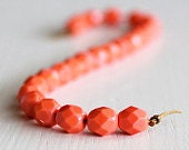 25 Opaque Medium Coral Faceted 6mm Czech Glass Rounds