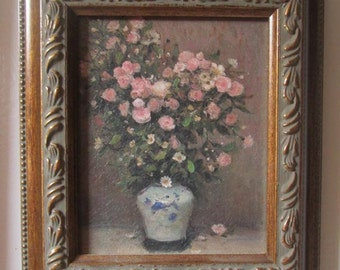 Vintage Rose Bouquet Faux Canvas Picture Embossed Gold Frame Shabby Chic - Romantic - Cottage Style