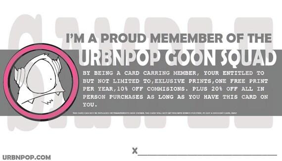 URBNPOP Goon Squad Member card