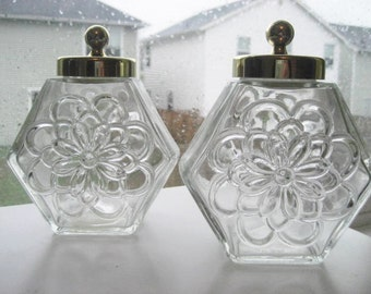 Pair of Vintage Avon Glass Containers with Lids and Embossed Floral Design- Country Store