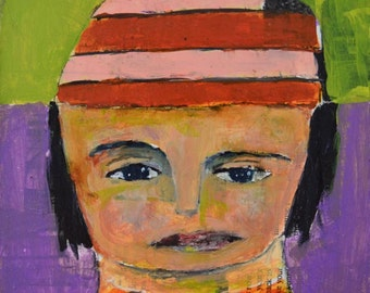 Acrylic Portrait Painting. Small Mixed Media Collage Art. Orange Pink Winter Hat. Sister Gift for Her.