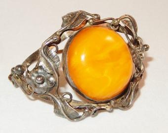 Vintage Amber & Sterling Floral Vine Pattern Bracelet