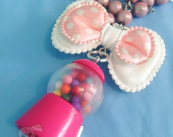 Miniature Gumball Machine Bow Pink Beaded Chain Necklace