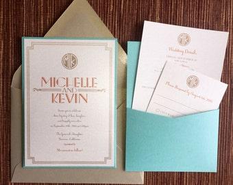 Pocket on the back Wedding Invitations Custom Design / art deco / damask / floral