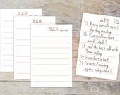 Blank Daily Journal Cards - Gratitude Journal Refill Cards - Pre-printed Lined Cards for Perpetual Calendar