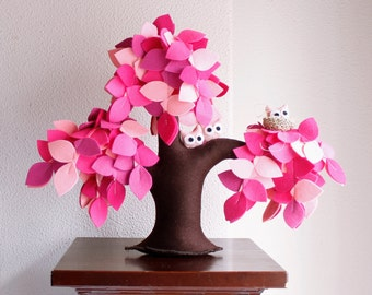 Pink weeping willow, Felt Tree, Tree ornament, Soft sculpture, Home decor, Kids Room Decoration, Spring Tree
