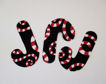 9 Candy Cane Iron On Applique Patch 4""