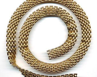 "Vintage Gold Color Chain 13mm Unique Flexible Links Choose 12"" or 24"" Length"