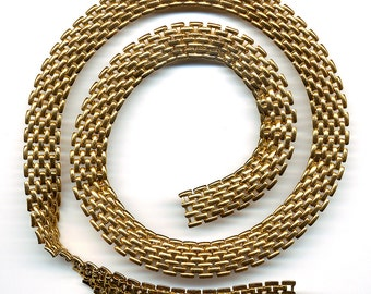 "Vintage Gold Color Chain 13mm Unique Flexible Metal Links 12"" Length"