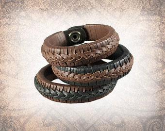 Braided Leather Cuff, Leather Cuff, Leather Wristband, Brown Leather Cuff, Braided Bracelet - Brown - Custom to You (1 cuff only)