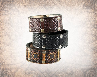 Leather Cuff, Leather Wristband, Leather Bracelet, Black Leather Cuff, Brown Leather Cuff, Celtic Cuff  - The Celtic Square - Snapped Cuff