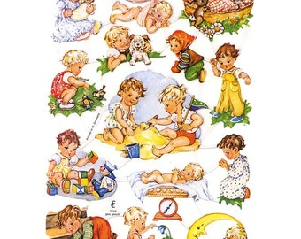 Paper Scraps Germany Lithographed Paper Die Cut Scraps Of Babies Baby  Children  7016