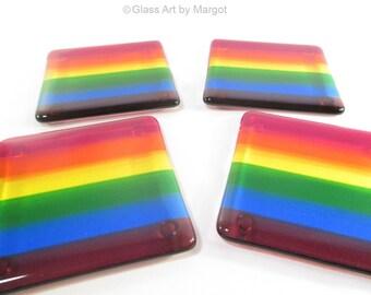 Fused Glass Drink Coasters Rainbow Set of 4