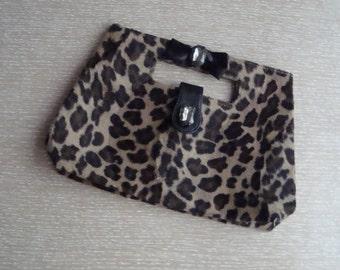 Furry Leopard Print Handbag Purse with Bow & Jewels