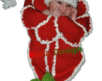 Baby girl boy flower COCOON and Hat SET Christmas Amaryllis Lily Any Color Original white green newborn photography props hand made Canada