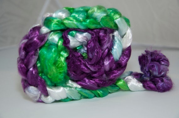 100g Handpainted Tencel Fibre in Green and Purple