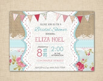 Shabby Chic Bridal Shower Invitation - pink teal cream,  burlap and lace, vintage,  - print yourself