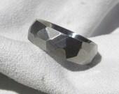 Titanium Ring with Unique Ground Profile Burnished Finish