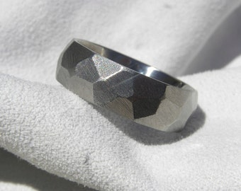 Titanium Ring with Unique Ground Profile Burnished Finish